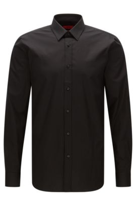 Slim-fit shirt in stretch cotton , Black