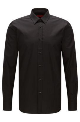Slim-Fit Hemd aus Stretch-Baumwolle, Schwarz