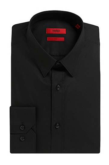 修身版素色弹力棉衬衫,  001_Black