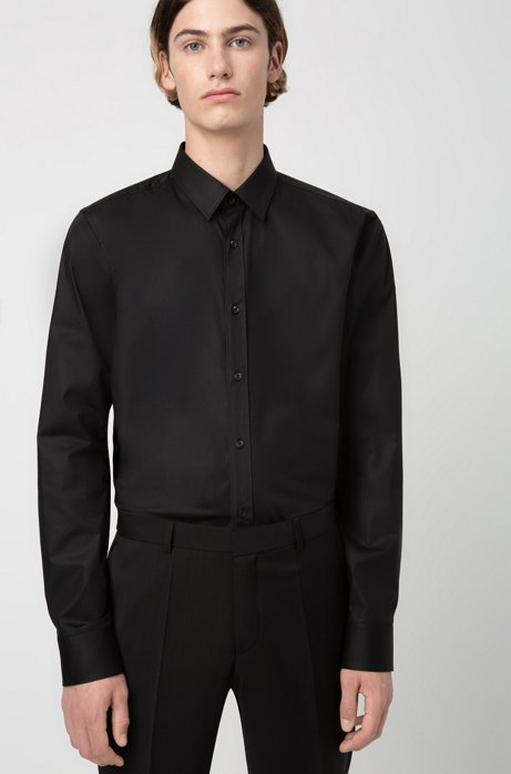 Extra slim-fit shirt in stretch cotton , Black