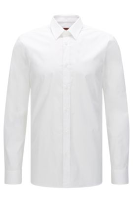 Slim-fit shirt in stretch cotton , Open White
