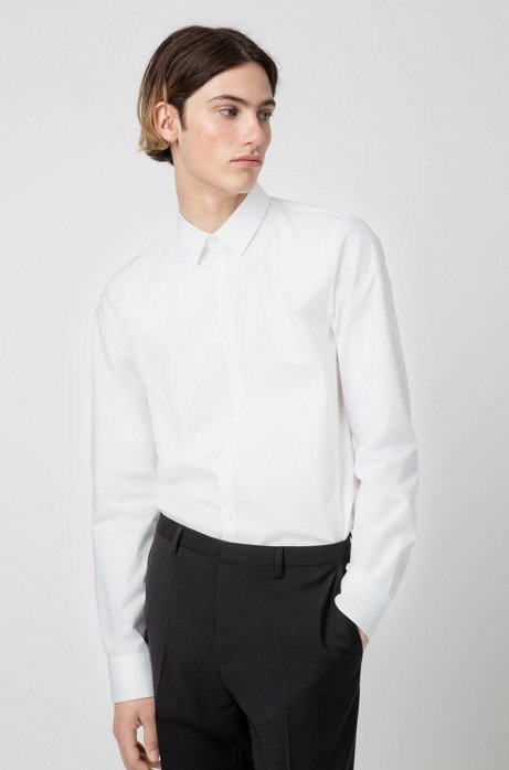 Chemise Extra Slim Fit en coton stretch, Blanc