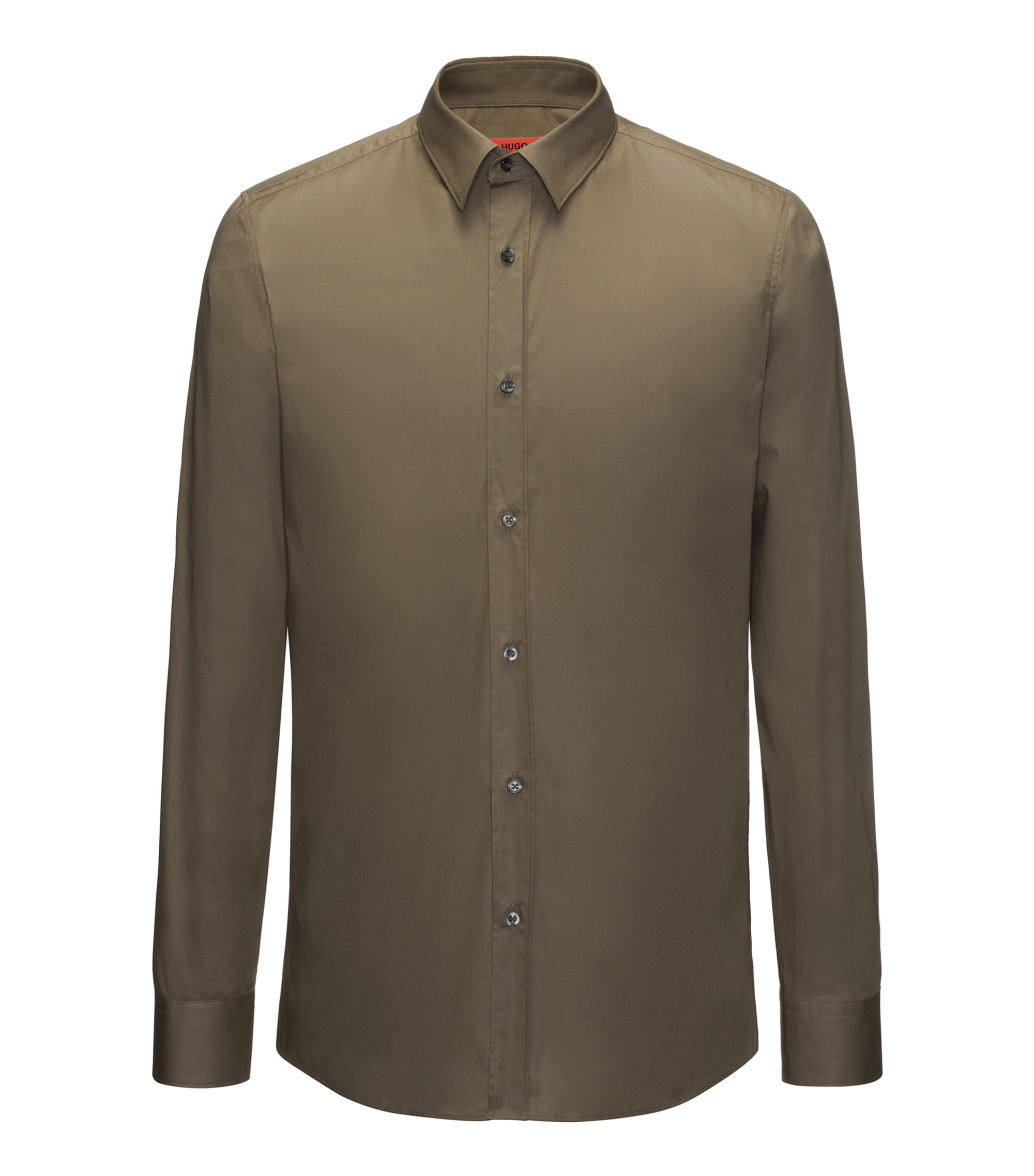 Extra-slim-fit shirt in stretch cotton , Green