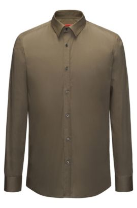 Slim-fit shirt in stretch cotton , Green