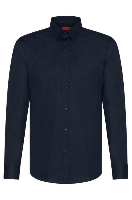 Extra slim-fit shirt in stretch cotton , Dark Blue