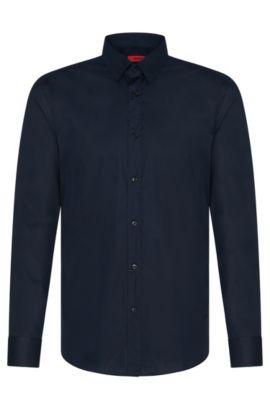 Camicia slim fit in cotone elasticizzato , Blu scuro