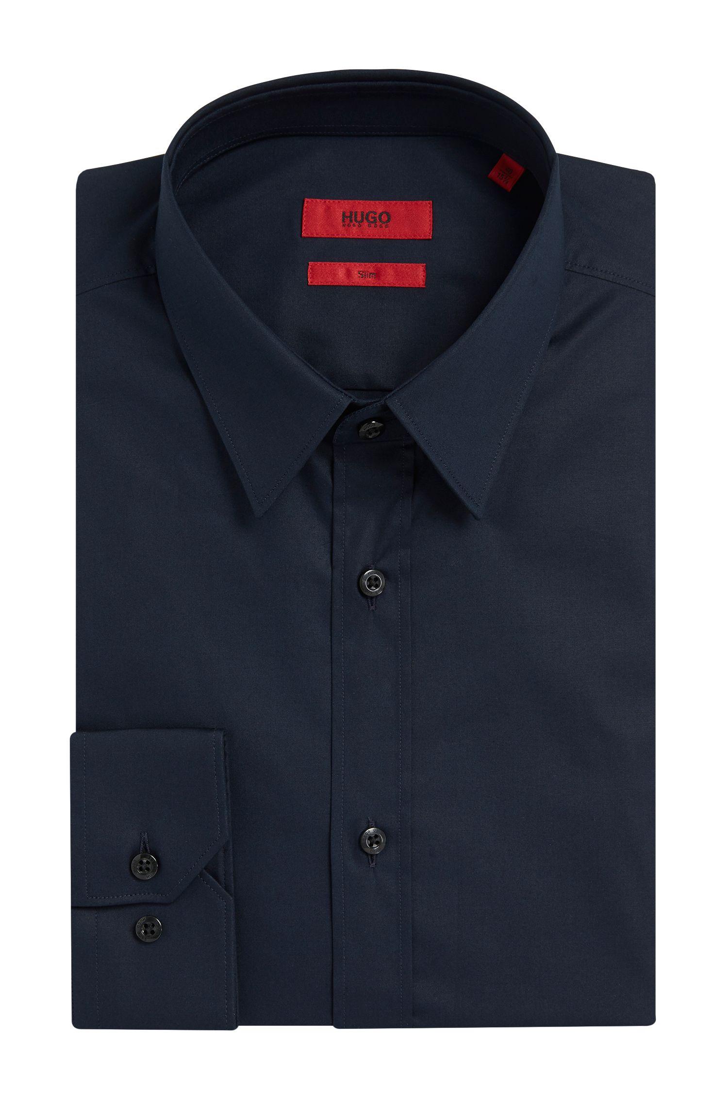 Camisa extra slim fit en algodón elástico , Azul oscuro