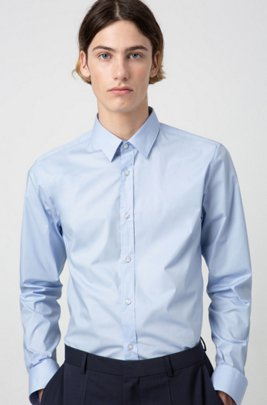 Extra slim-fit shirt in stretch cotton , Light Blue
