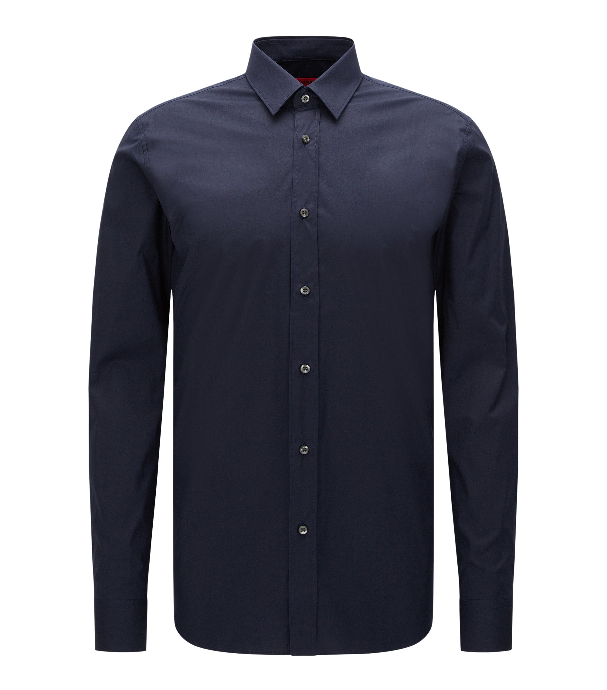 Extra-slim-fit shirt in stretch cotton , Dark Blue