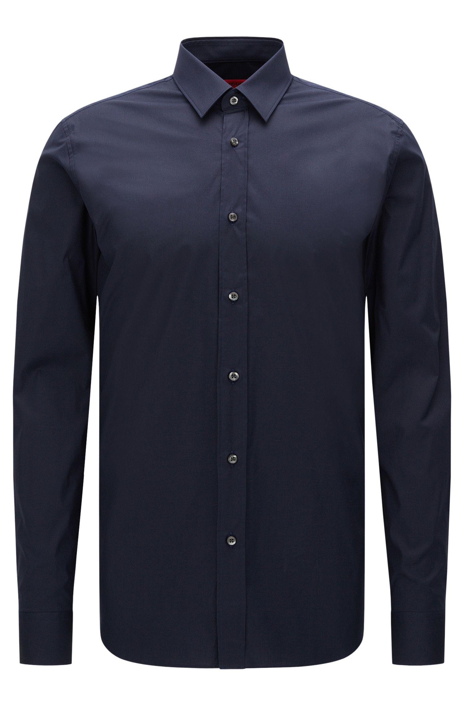 Extra Slim-Fit Hemd aus Stretch-Baumwolle, Dunkelblau