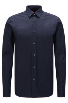 Slim-fit overhemd van stretchkatoen , Donkerblauw