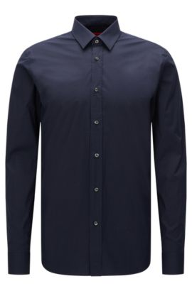 Slim-fit shirt in stretch cotton , Dark Blue
