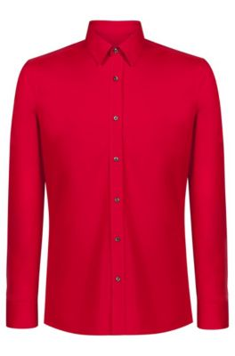 Extra slim-fit overhemd van stretchkatoen , Rood