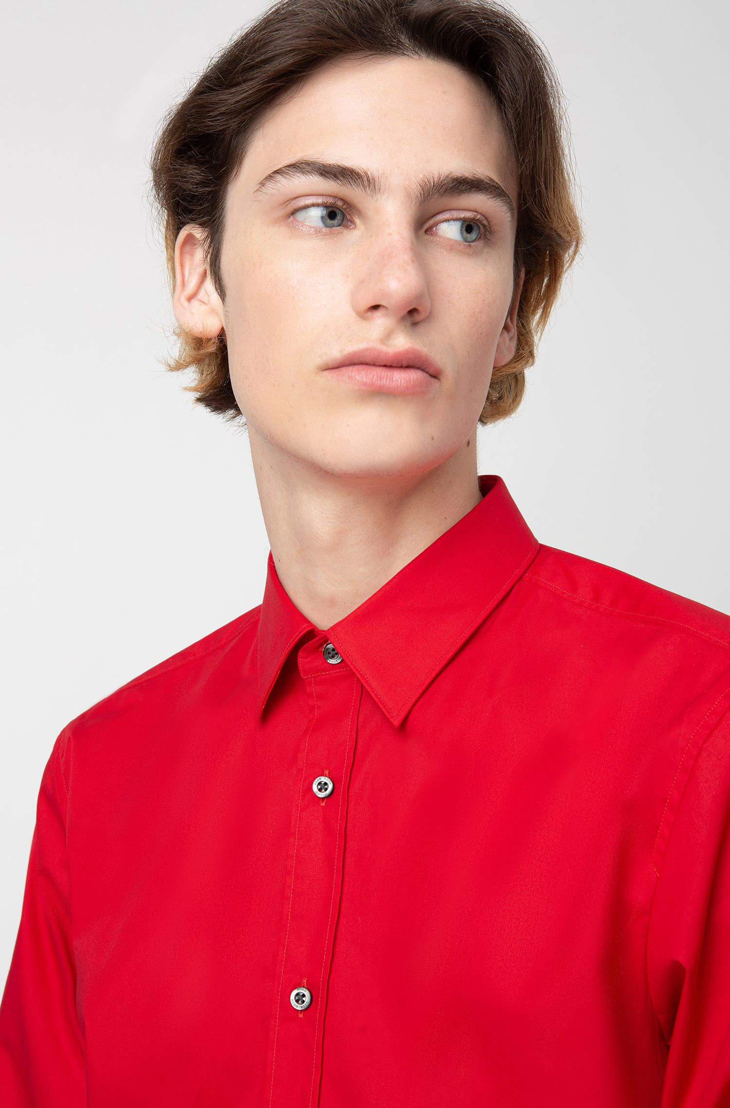 Chemise Extra Slim Fit en coton stretch, Rouge