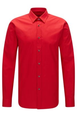 Chemise Slim Fit en coton stretch, Rouge