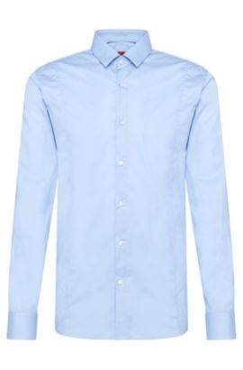 Slim-fit shirt in stretch cotton: 'Etello', Light Blue
