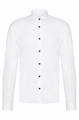 Slim-fit shirt in subtly textured cotton: 'Ero3', Open White
