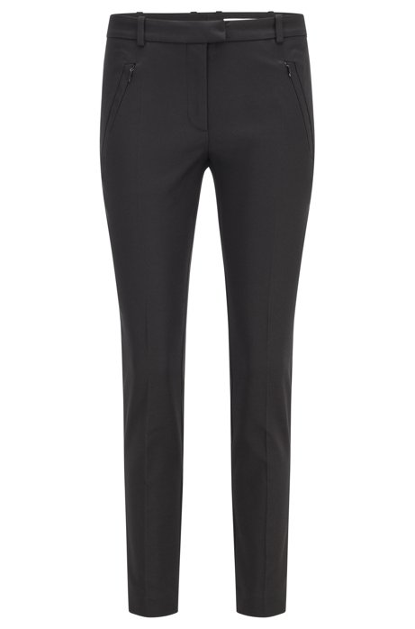 Slim-fit trousers with zipped hems, Black