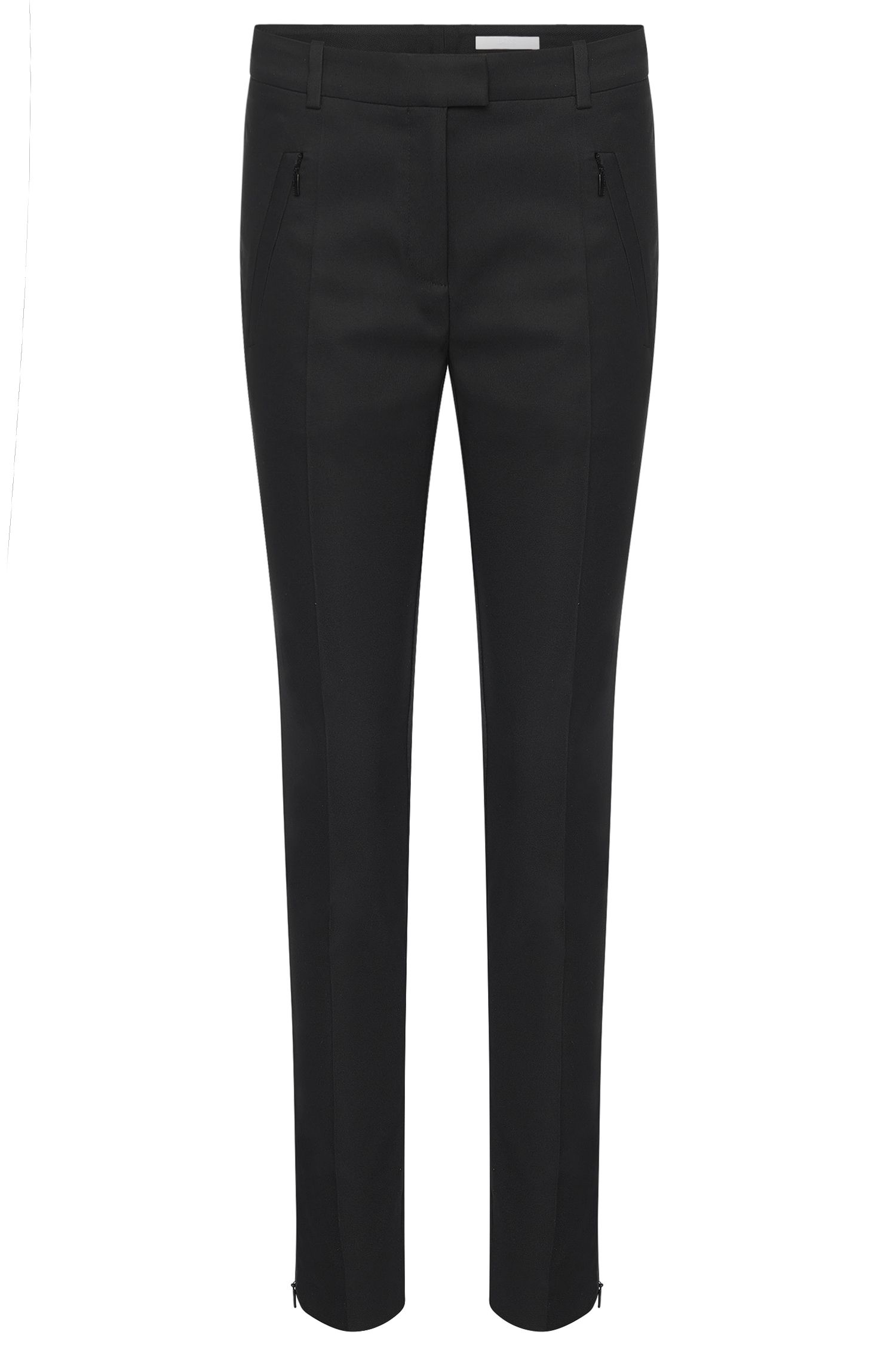 Slim-fit trousers with zipped hems