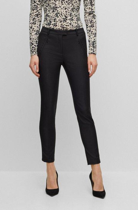 Slim-Fit Hose in Cropped-Länge mit Reißverschluss am Saum, Schwarz