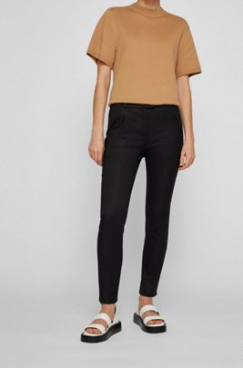 Cropped slim-fit trousers with zipped hems, Black