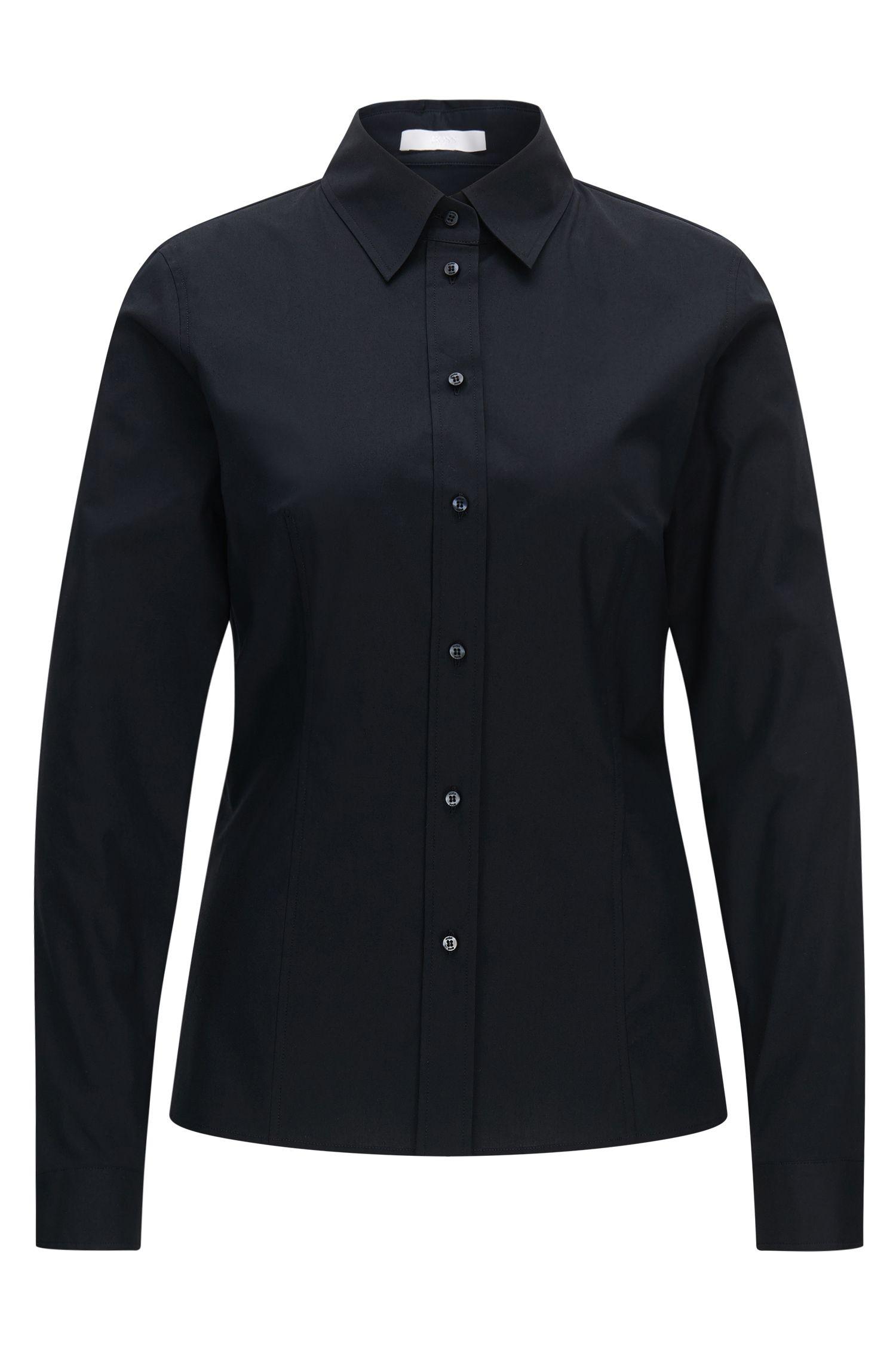 Slim-Fit Bluse aus elastischem Baumwoll-Mix: 'Banu 13'
