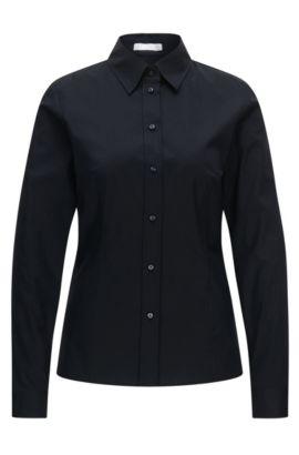 Slim-Fit Bluse aus elastischer Baumwolle, Dunkelblau