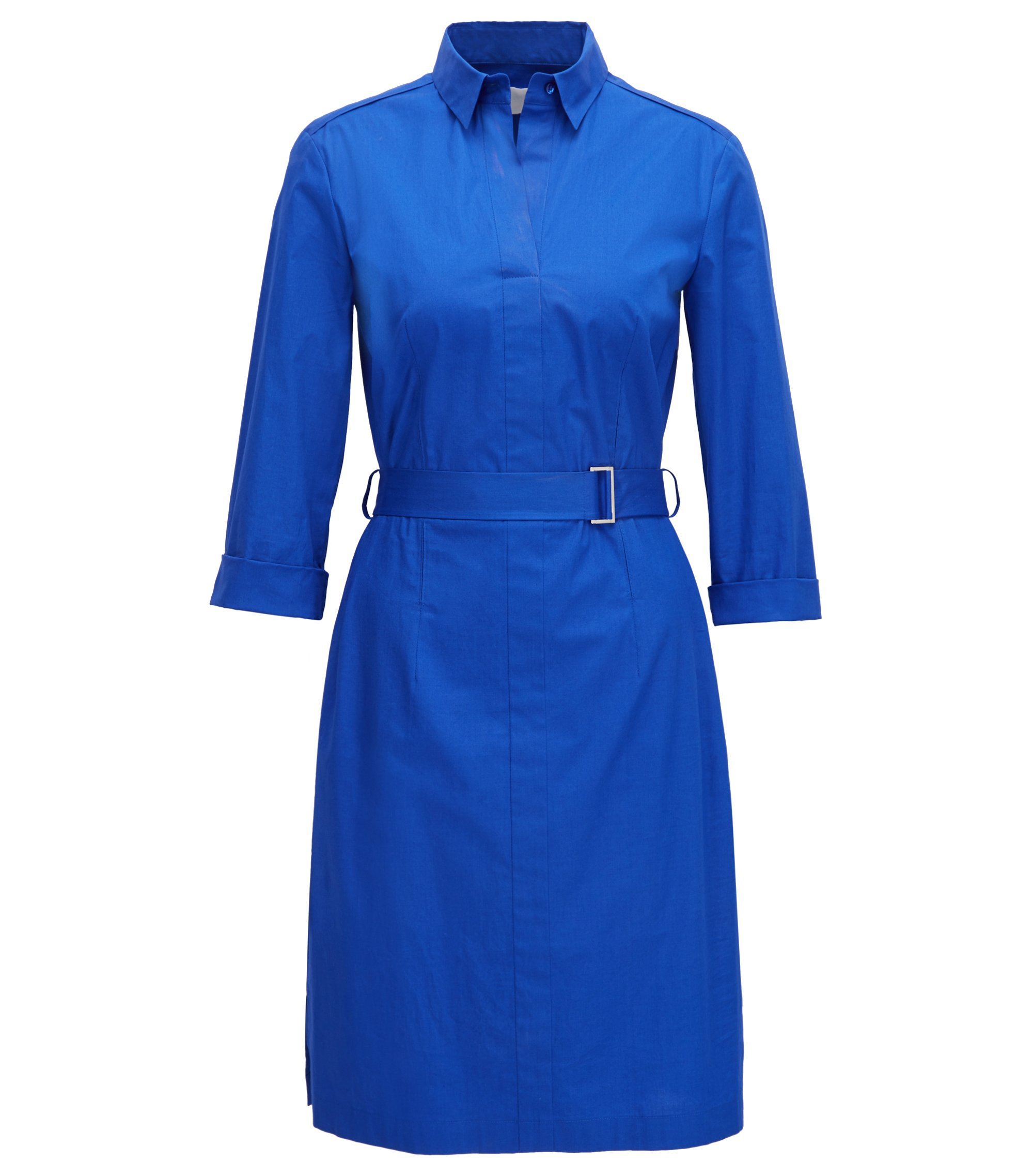 Regular-Fit Hemdblusenkleid aus elastischer Baumwolle mit Gürtel, Blau