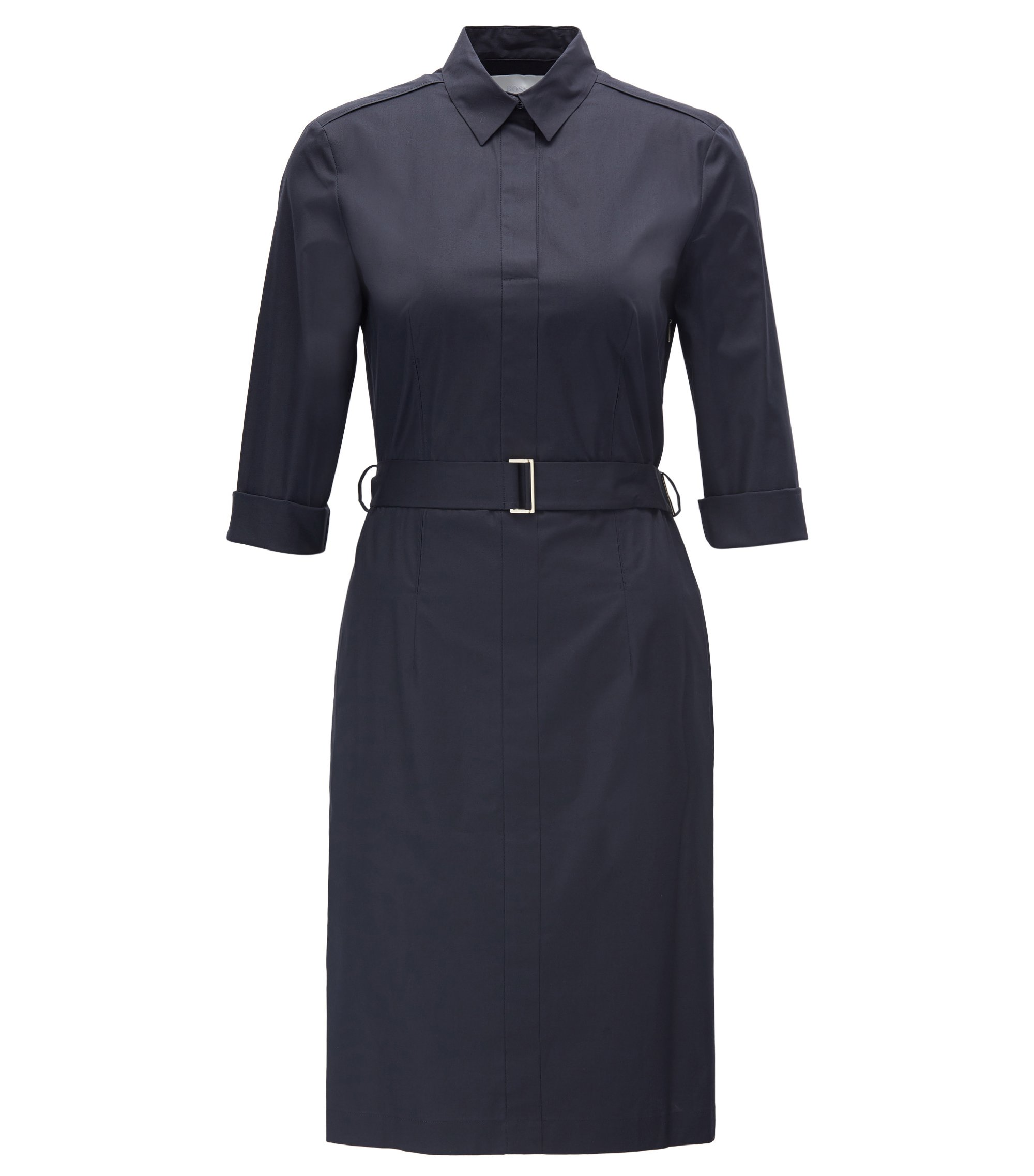 Vestido camisero con cinturón en algodón elástico, Azul oscuro