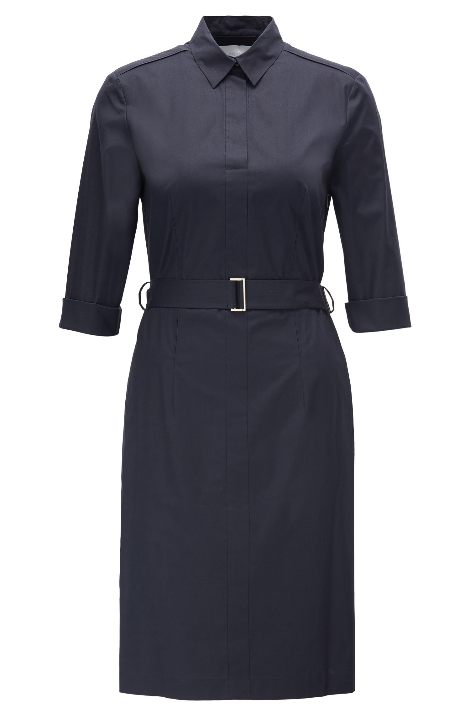 Regular-Fit Hemdblusenkleid aus elastischer Baumwolle mit Gürtel