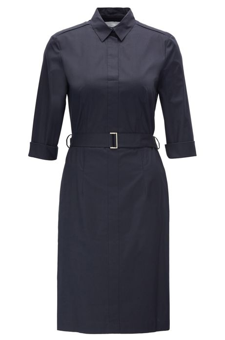 6a466a7a2 Belted shirt dress in stretch cotton