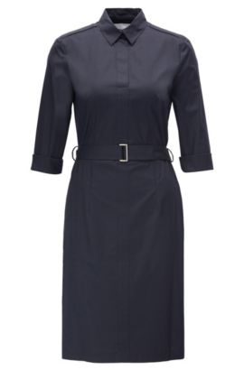 Dress in stretch cotton: 'Dashiri4', Dark Blue