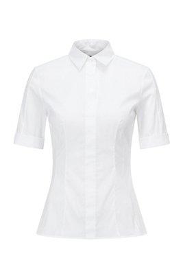 Slim-Fit Bluse aus Baumwoll-Mix mit falscher Knopfleiste , Weiß