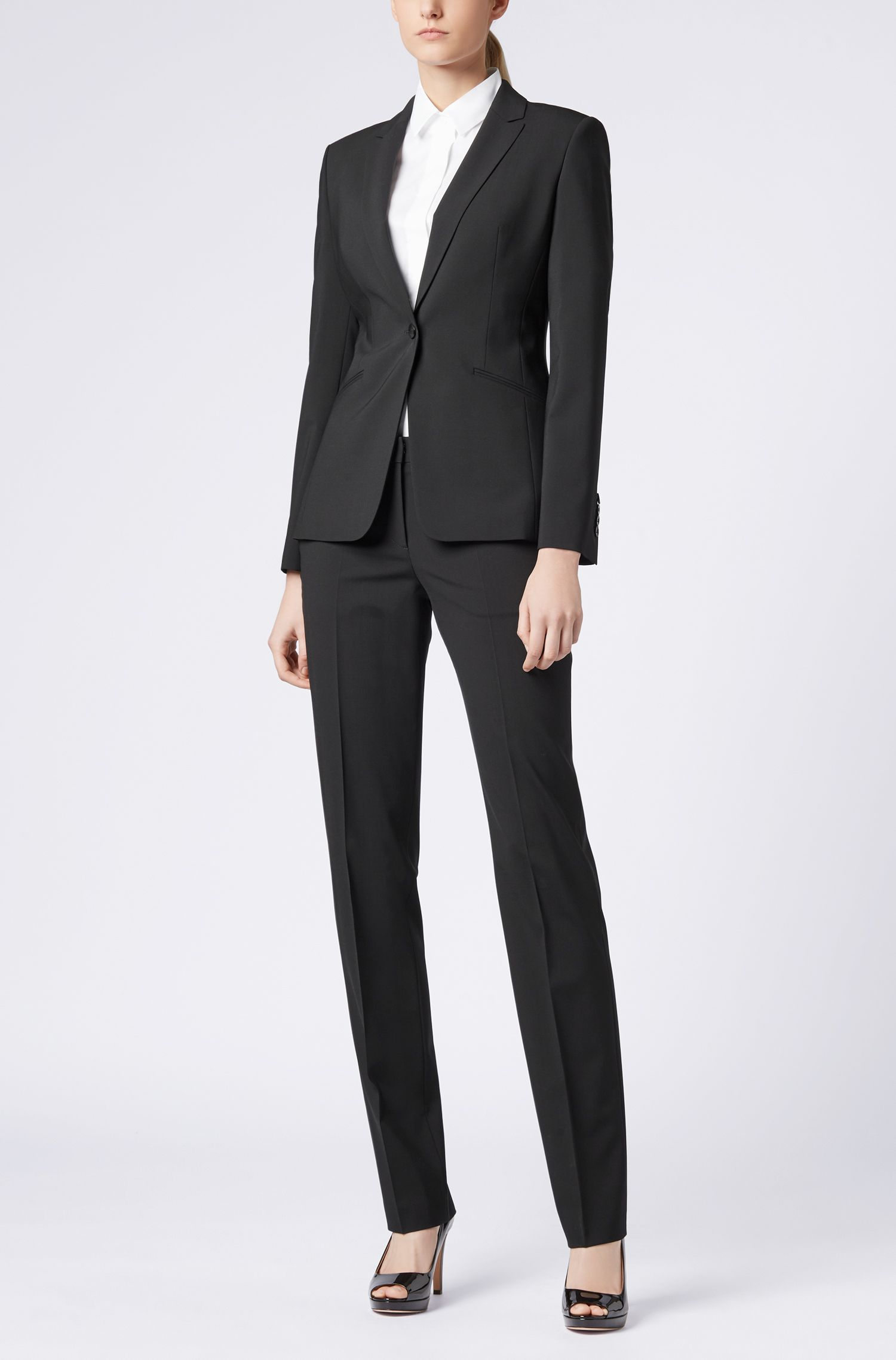 Slim-fit cotton-blend blouse with mock placket