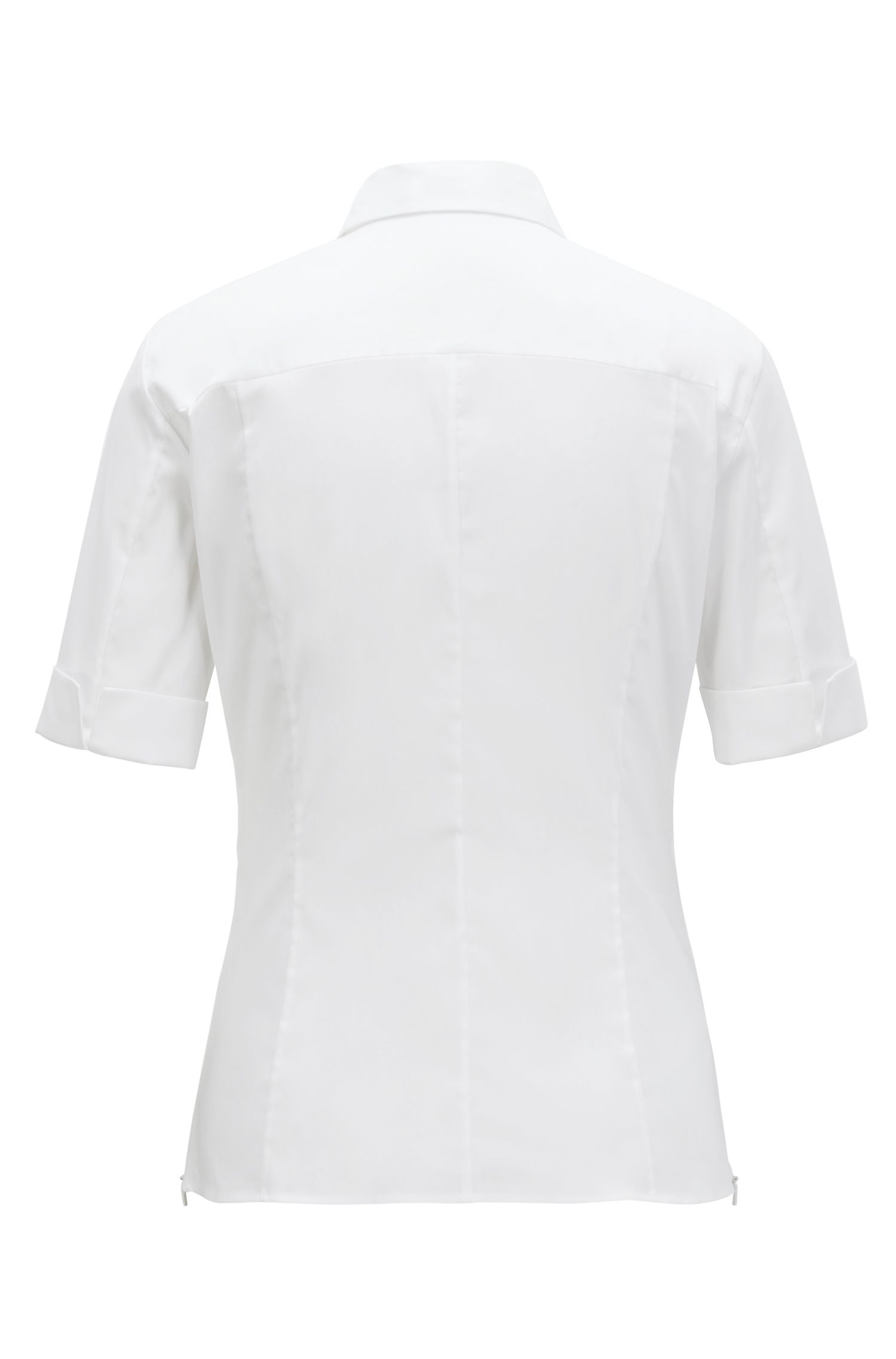 Slim-fit cotton-blend blouse with mock placket , White