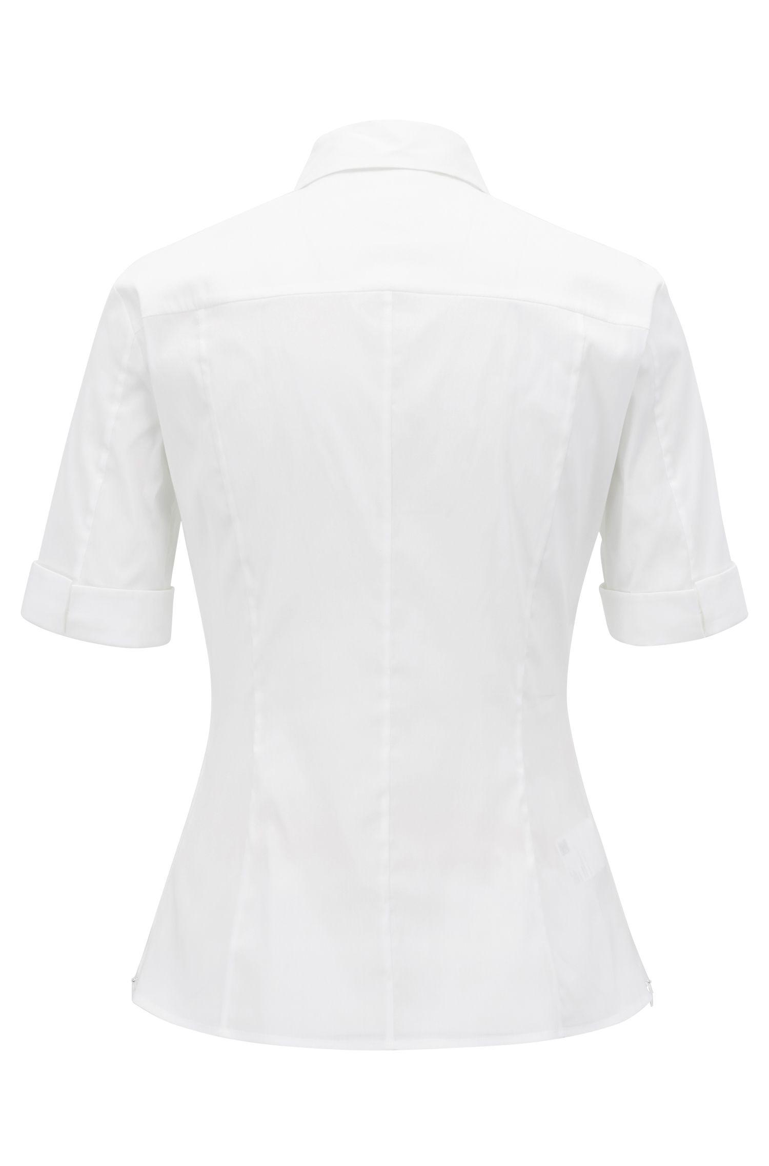 Slim-Fit Bluse aus Baumwoll-Mix mit angedeuteter Knopfleiste , Weiß