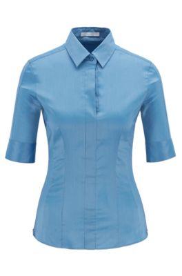 Slim-fit blouse van een katoenmix met nepsluiting , Blauw