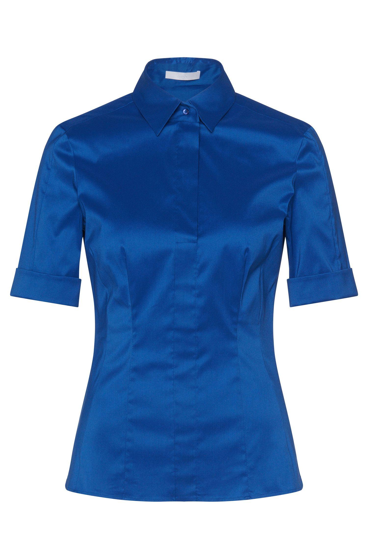Slim-Fit Bluse aus Baumwoll-Mix mit angedeuteter Knopfleiste von BOSS Womenswear Fundamentals
