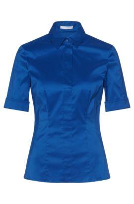 Chemisier Slim Fit en coton mélangé, avec une patte de boutonnage factice, Bleu