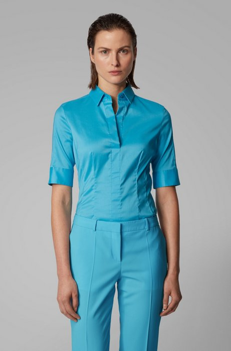 Slim-fit cotton-blend blouse with mock placket , Turquoise