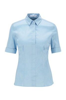 Slim-Fit Bluse aus Baumwoll-Mix mit falscher Knopfleiste , Hellblau