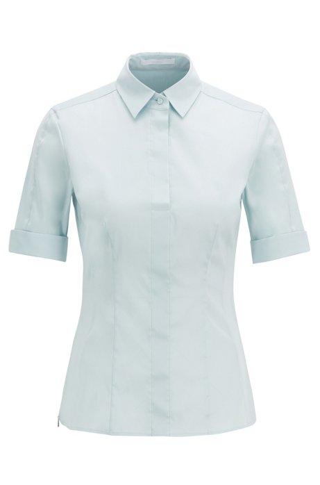 Slim-fit blouse van een katoenmix met nepsluiting , Lichtblauw