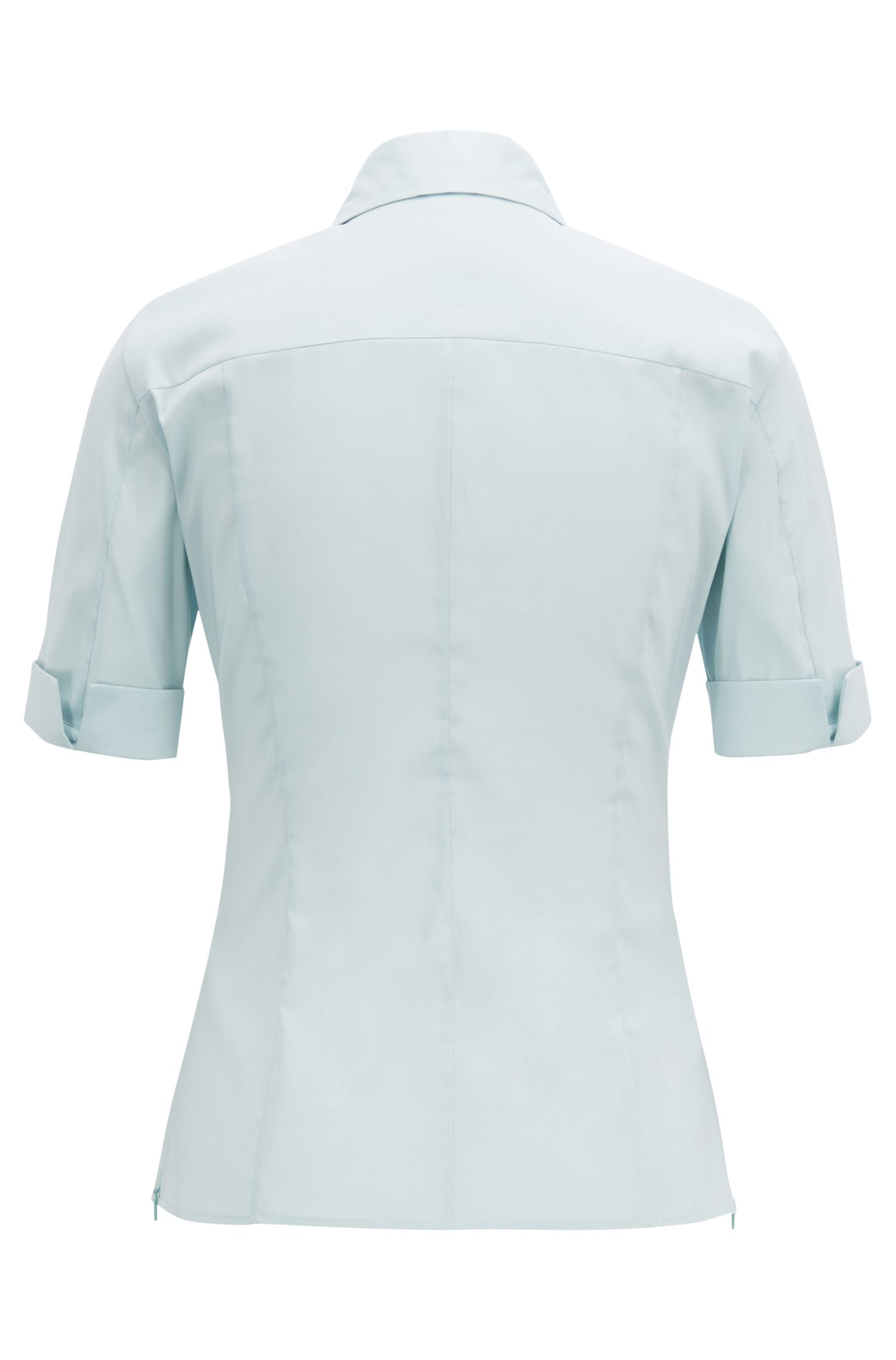Slim-fit cotton-blend blouse with mock placket , Light Blue