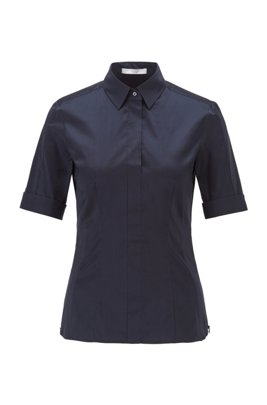 Slim-fit cotton-blend blouse with mock placket , Blue