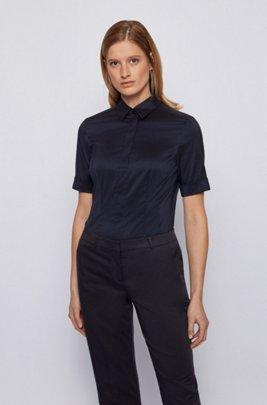 Slim-fit cotton-blend blouse with mock placket , Blue
