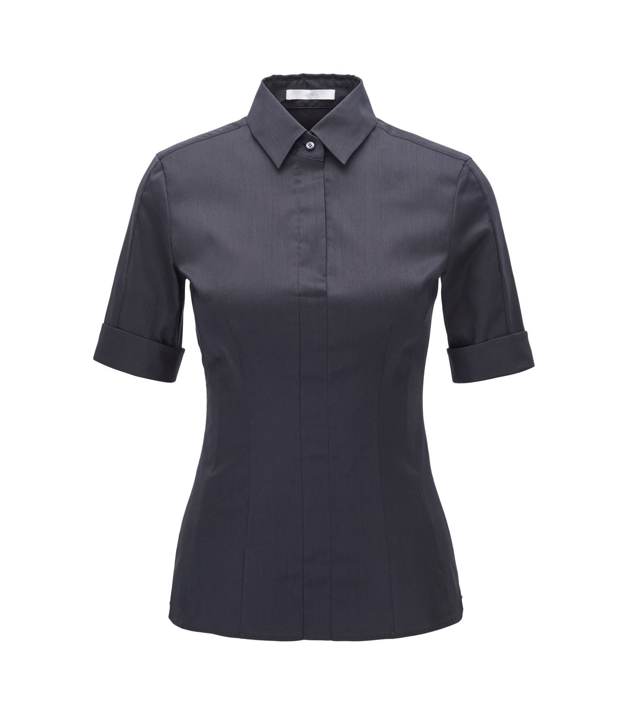 Slim-fit cotton-blend blouse with mock placket , Dark Blue