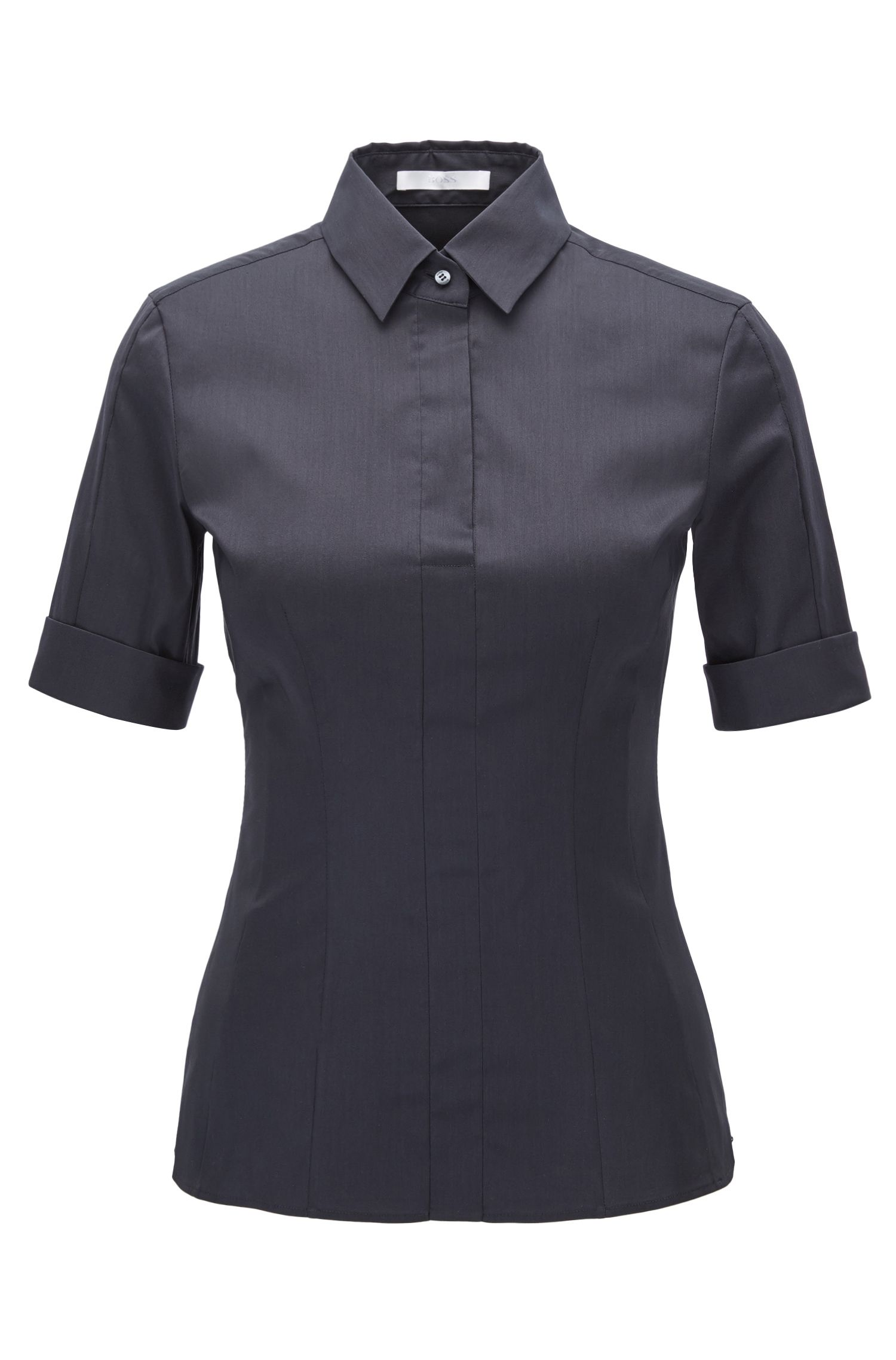 Slim-fit cotton-blend blouse with mock placket