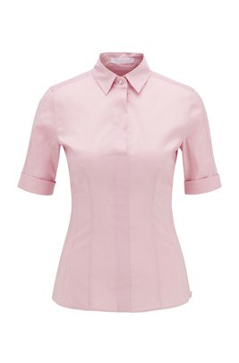 Slim-fit cotton-blend blouse with mock placket , Light Purple