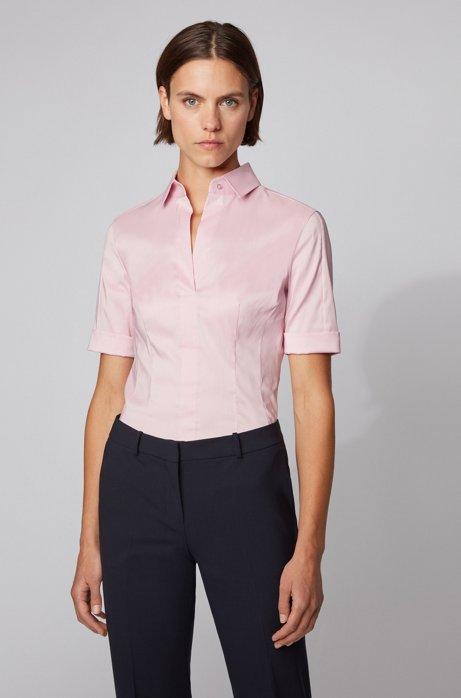 Slim-Fit Bluse aus Baumwoll-Mix mit angedeuteter Knopfleiste , Flieder