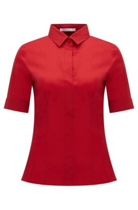 Slim-fit cotton-blend blouse with mock placket by BOSS Womenswear Fundamentals, Red